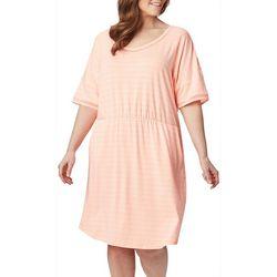 Plus Slack Water Striped Knit Dress