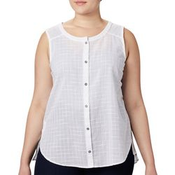 Plus Summer Ease Window Pane Sleeveless Shirt