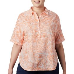 Plus Sun Drifter Palm Leaf Print Shirt