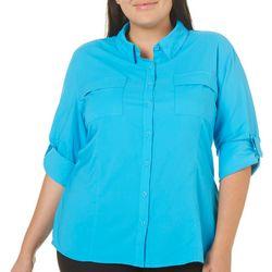 Reel Legends Plus Saltwater Solid Roll Tab Sleeve Shirt