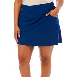 Plus Solid A-Line Pull On Skort