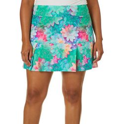 Reel Legends Plus Keep It Cool Rainbow Succulent Print Skort