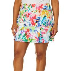 Reel Legends Plus Keep It Cool Colorful Scribble Skort