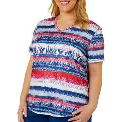 Plus Freeline Abstract Chevron Shimmer Top