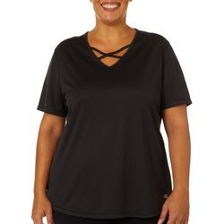 Reel Legends Plus Freeline Shimmer Criss Cross V-Neck Top