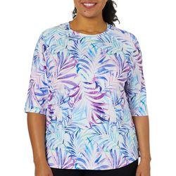 Reel Legends Plus Keep It Cool Splatter Palm Swim Shirt