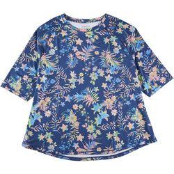 Reel Legends Plus Keep It Cool Floral Midsleeve Top