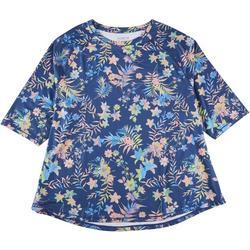 Plus Keep It Cool Floral Midsleeve Top