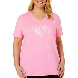 Reel Legends Plus Sketched Turtle & Rose T-Shirt