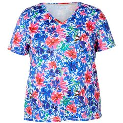 Reel Legends Plus Reel-Tec Colorful Floral Short Sleeve Top