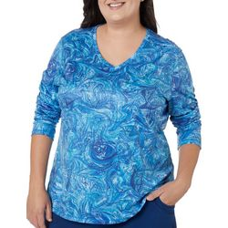 Reel Legends Plus Reel-Tec Underwater Marble V-Neck Top
