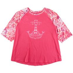 Plus Anchor Print Pattern Sleeve Top