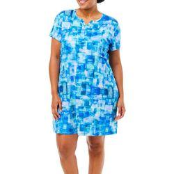 Reel Legends Plus Keep It Cool Blue Cubes Dress