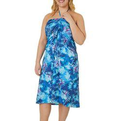 Plus Keep It Cool Misty Palms Maxi Skirt