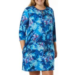 Reel Legends Plus Keep It Cool Misty Palms Keyhole Dress