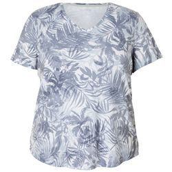 Reel Legends Plus Palm Leaf Ribbed V-Neck Top
