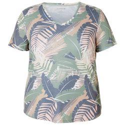 Reel Legends Plus Palm Leaf Print Ribbed V-Neck Top