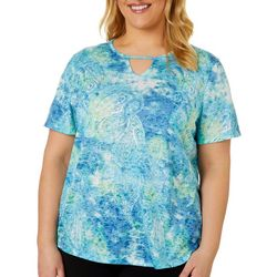 Reel Legends Womens textured Paisley Keyhole Burnout Top