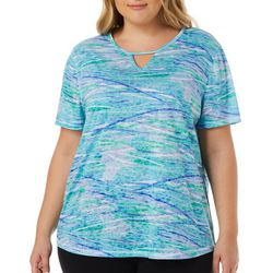 Reel Legends Plus Waterway Print Keyhole Burnout Top