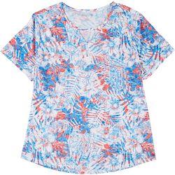 Reel Legends Plus Americana Floral Burnout Keyhole T-Shirt