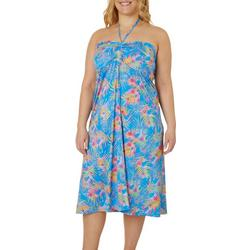 Plus Keep It Cool Watercolor Palms Maxi Skirt
