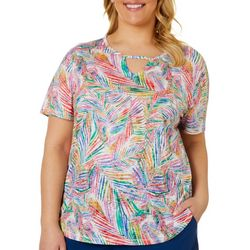 Reel Legends Plus Jazzy Palms Print Keyhole Burnout Top
