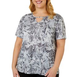 Reel Legends Plus Marble Splash Print Keyhole Burnout Top