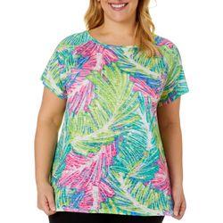 Plus Sketched Palms Raglan Sleeve Burnout Top