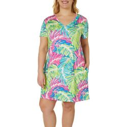 Reel Legends Plus Keep It Cool Sketched Palms Dress