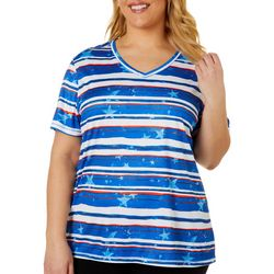 Reel Legends Plus Reel-Tec Stars On Stripes Short Sleeve Top
