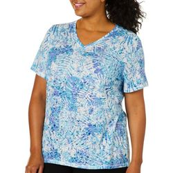 Reel Legends Plus Reel Fresh Tropical Palm Print Burnout Top