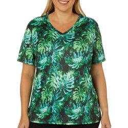 Reel Legends Plus Reel-Tec Tropical Leaf Print Top