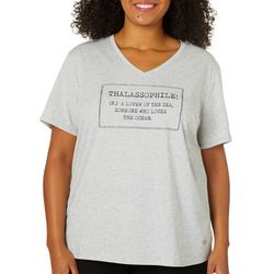 Reel Legends Plus Thalassophile Heathered V-Neck Top