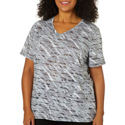 Reel Legends Plus Abstract Print Burnout Top