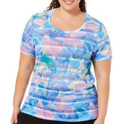 Reel Legends Plus Keep It Cool Rainbow Rock Striped Top