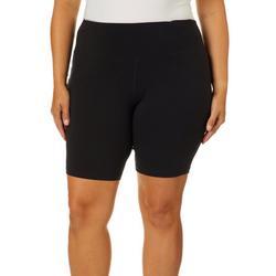 Plus Black Biker Shorts With Pockets