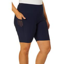 Plus Navy Biker Shorts With Pockets