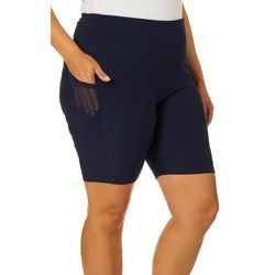 VOGO Plus Solid Knit Mesh Pocket Bike Shorts
