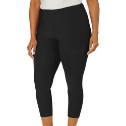 VOGO Plus Solid Mesh Textured Panel Capri Leggings