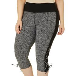 VOGO Plus Heathered Colorblock Lace Up Detail Capris