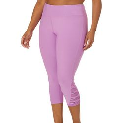 VOGO Plus Solid Mesh Lattice Panel Capri Leggings