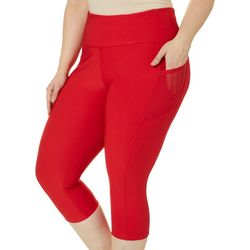 VOGO Plus Solid Mesh Side Pockets Capri Leggings