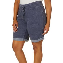 RBX Plus Solid Mineral Wash Roll Cuff Hem Bermuda Shorts