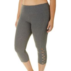 NYL Sport Plus Solid Lattice Hem Capri Leggings