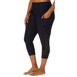 Marika Plus Solid Side Stripe Capri Leggings