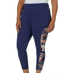 Marika Plus Suzy Printed Mesh Panel Ankle Leggings