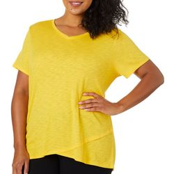 Love. Life. Live. Plus Solid Faux Layer Short Sleeve Top