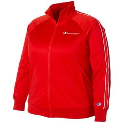 Plus Solid Athletic Stripe Track Jacket