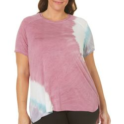FUDA Plus Tie Dye Print High-Low Hem Top
