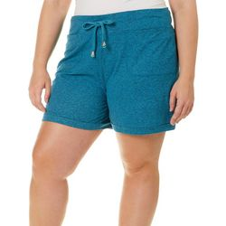 Brisas Plus Terry Drawstring Waist Roll Cuff Shorts